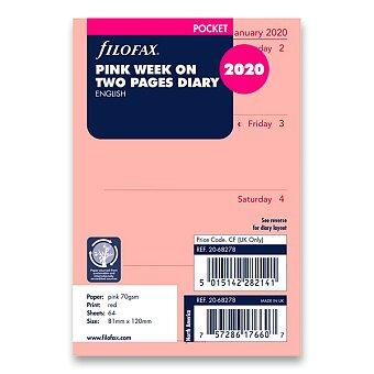 Obrázek produktu Týdenní kalendář 2020, Aj - náplň kapesních diářů Filofax