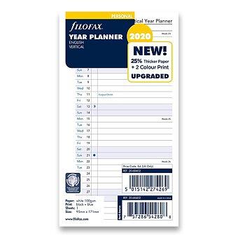 Obrázek produktu Roční plánovací kalendář 2020, Aj - náplň osobních diářů Filofax