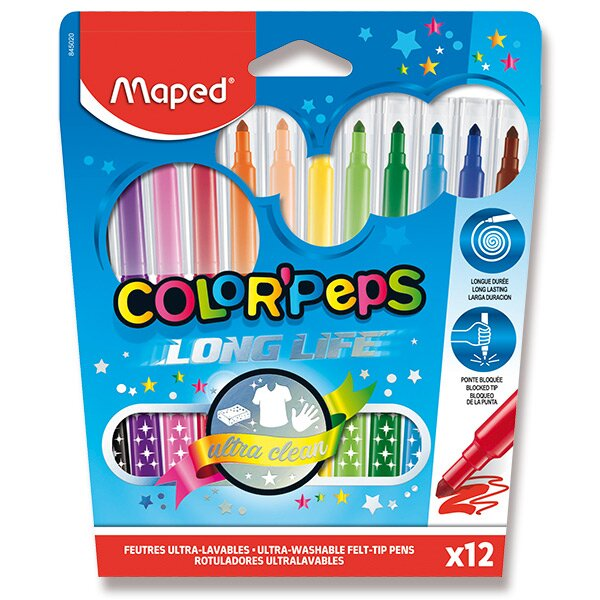 Dětské fixy Maped Color'Peps Long Life 12 barev