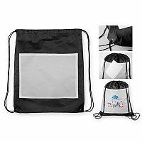 SANCHO - polyesterový stahovací batoh, 210D, černá