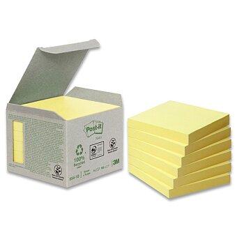 Obrázek produktu Samolepicí recyklované bločky 3M Post-it 654 - 76 x 76 mm, 6 x 100 listů