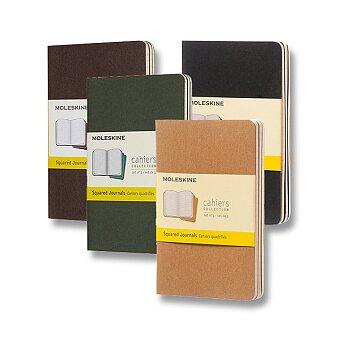 Obrázek produktu Notes Moleskine Cahier - S, čtverečkované, 3 ks, výběr barev
