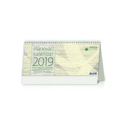 Obrázok produktu Plánovací kalendár GREEN 2019 - stolový bezobrázkový kalendár
