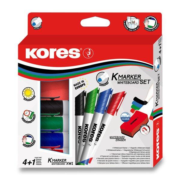 Sada Kores K-Marker Set 4 popisovače + magnetická houbička