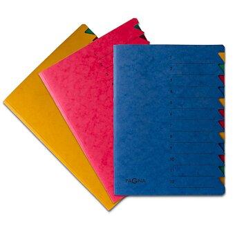 Obrázek produktu Třídící desky Pagna s gumičkou - A4, 12 oddílů, výběr barev