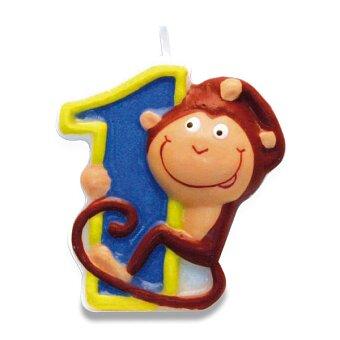"""Obrázek produktu Dortová číslová svíčka """"1"""", opice"""