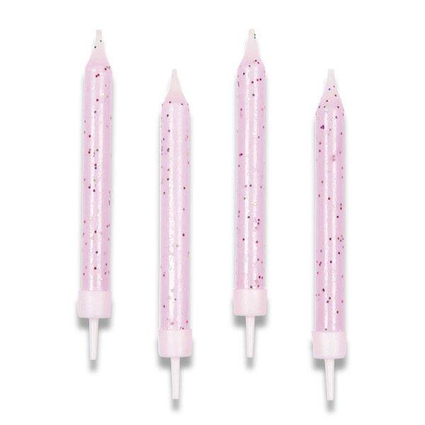 Dortové svíčky růžové, 10 ks