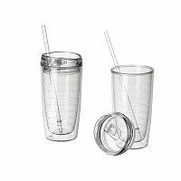 DRINKUP - plastová láhev s dvojitou stěnou a brčkem, 420 ml, transp. průsvitná