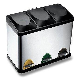 Obrázek produktu Kovový odpadkový koš pedálový Toro - 3 x 15 l, stříbrný