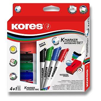 Obrázek produktu Sada popisovačů na bílé tabule s houbičkou Kores Whiteboard set - 4 ks + houba
