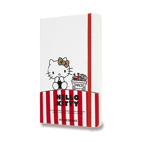 Zápisník Moleskine Hello Kitty - tvrdé desky L, čistý, bílý
