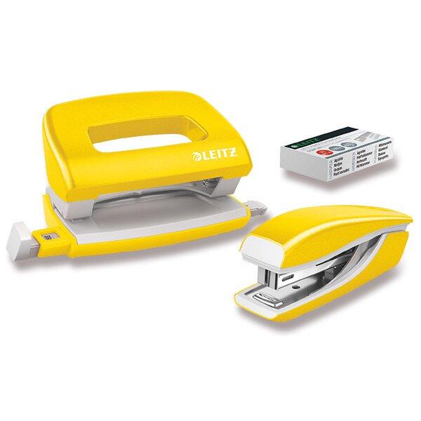 Mini set sešívačky a děrovačky Leitz Wow žlutý