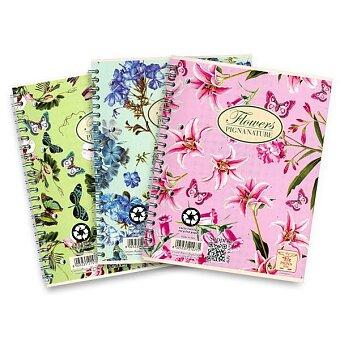 Obrázek produktu Kroužkový blok Pigna Nature Flowers - A4, čtverečkovaný, 60 listů