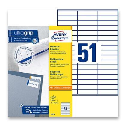 Obrázek produktu Avery Zweckform - univerzální etikety - 70,0 × 16,9 mm, 5100 etiket