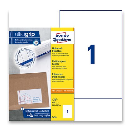 Obrázek produktu Avery Zweckform - univerzální etikety - 210,0 x 297,0 mm, 100 etiket
