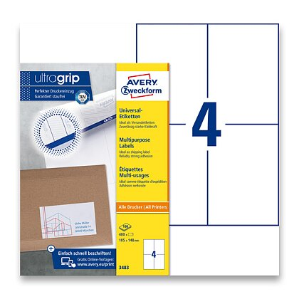 Obrázek produktu Avery Zweckform - univerzální etikety - 105,0 x 148,0 mm, 400 etiket