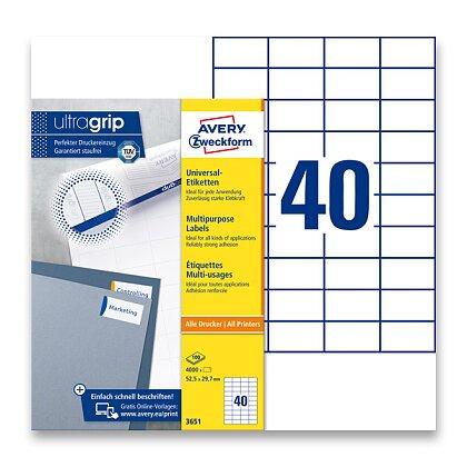 Obrázek produktu Avery Zweckform - univerzální etikety - 52,5 x 29,7 mm, 4000 etiket