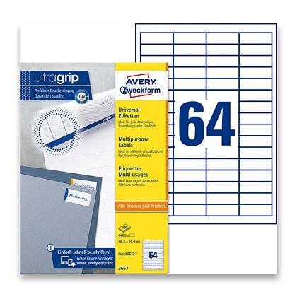 Obrázek produktu Avery Zweckform - univerzální etikety - 48,5 × 16,9 mm, 100 archů