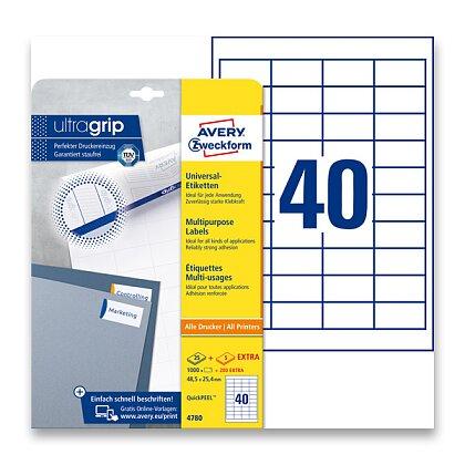 Obrázek produktu Avery Zweckform - univerzální etikety - 48,5×25,4 mm, 1200 etiket