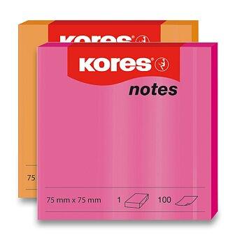 Obrázek produktu Samolepicí bločky Kores - neonové - 75 x 75 mm, 100 listů, výběr barev