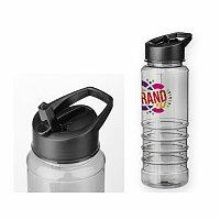 NELSON - plastová sportovní láhev, 750 ml, transp., frosty černá