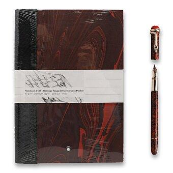 Obrázek produktu Montblanc Heritage Rouge & Noir Serpent Marble - sada plnicí pero, hrot F a zápisník