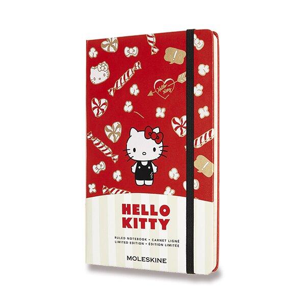 Zápisník Moleskine Hello Kitty - tvrdé desky L, linkovaný, červený