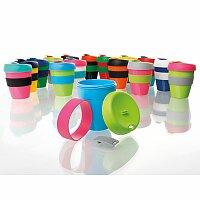TUMBLER MIX - plastový hrnek na kávu s víčkem a teplu odolným silikon. kroužkem
