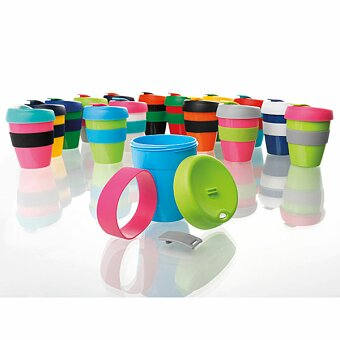Obrázek produktu TUMBLER MIX - plastový hrnek na kávu s víčkem a teplu odolným silikon. kroužkem