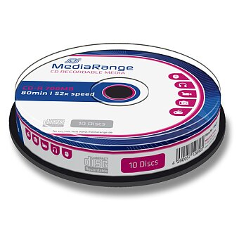 Obrázek produktu Zapisovatelné CD MediaRange CD-R - 700 MB, CD-R, 10 ks
