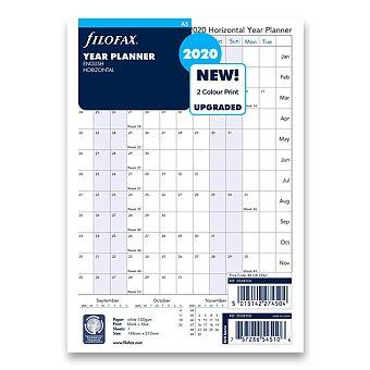 Obrázek produktu Roční plánovací kalendář 2020, Aj - náplň A5 diářů Filofax