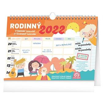 Obrázek produktu Týdenní rodinný plánovací kalendář 2022 - stolní s háčkem pro zavěšení