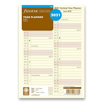 Obrázek produktu Roční plánovací kalendář 2021, Aj - krémový, náplň A5 diářů Filofax