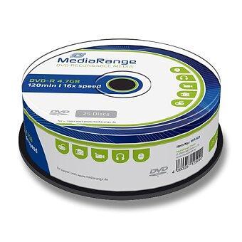 Obrázek produktu Zapisovatelné DVD MediaRange DVD-R - 4,7 GB, DVR-R, 25 ks spindle