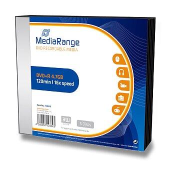 Obrázek produktu Zapisovatelné DVD MediaRange DVD+R - 4,7 GB, DVR+R, 5 ks