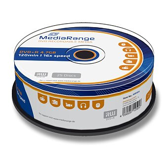 Obrázek produktu Zapisovatelné DVD MediaRange DVD+R - 4,7 GB, DVR+R, 25 ks spindl