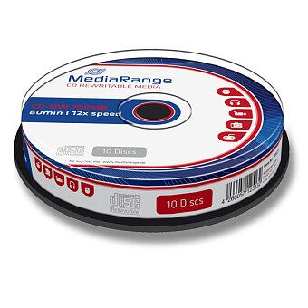 Obrázek produktu Přepisovatelné CD MediaRange CD-RW - 700 MB, CD-RW, 10 ks spindl