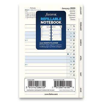 Obrázek produktu Měsíční kalendář 2020 - náplň kapesních zápisníků Filofax Notebook
