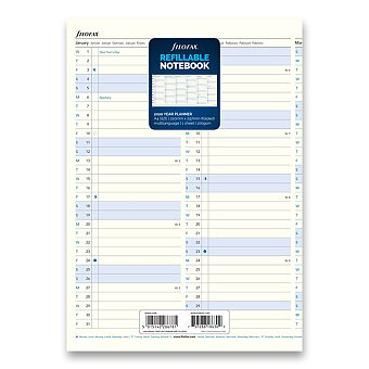 Obrázek produktu Roční kalendář 2020 - náplň A4 zápisníků Filofax Notebook