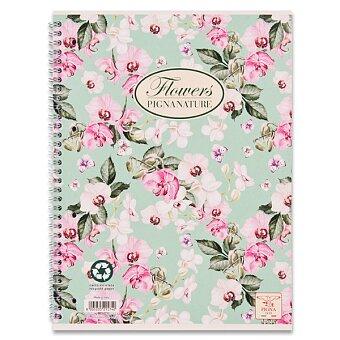 Obrázek produktu Kroužkový blok Pigna Nature Flowers - A4, linkovaný, 60 listů, mix motivů