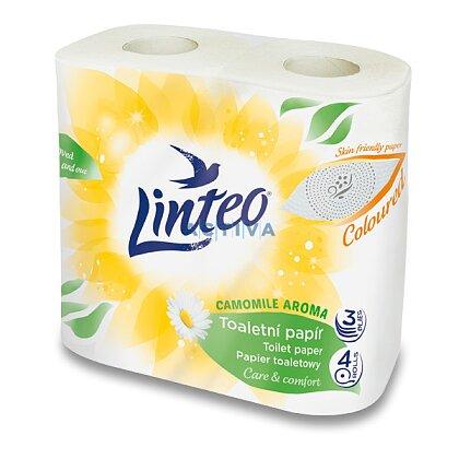 Obrázek produktu Linteo Satin - toaletní papír - heřmánek - 3-vrstvý, 140 útržků, návin 16 m, 4 ks