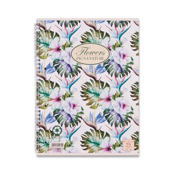 Kroužkový blok Pigna Nature Flowers A5, linkovaný, 60 listů, mix motivů