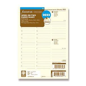 Kalendář Filofax 2022, týden/2 strany s poznámkami, krémový