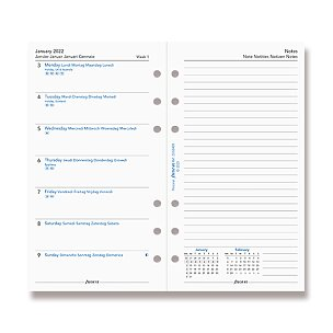 Kalendář Filofax 2022, týden/1 strana s poznámkami