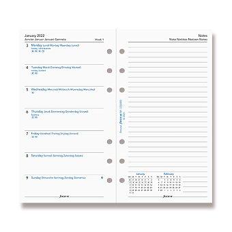 Obrázek produktu Kalendář Filofax 2022, týden/1 strana s poznámkami - náplň osobních diářů