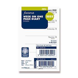 Kalendář Filofax 2022, týden/1 strana