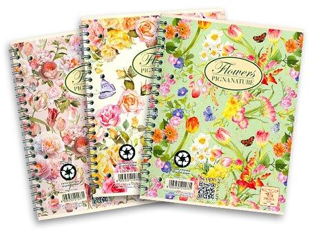 Obrázek produktu Kroužkový blok Pigna Nature Flowers - mix motivů - A4, linkovaný, 60 listů