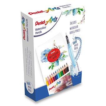 Obrázek produktu Kreativní sada Pentel Arts akvarel - akvarelové pastelky 12 barev + vodní štětec Aquash + blok