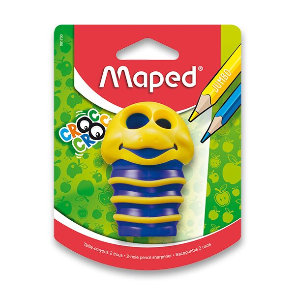 Ořezávátko Maped Croc Croc - s odpadní nádobkou 2 otvory, blistr, mix barev