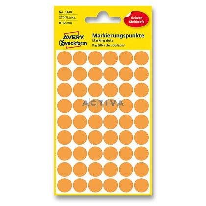 Obrázek produktu Avery Zweckform - kulaté etikety - průměr 12 mm, 270 etiket, oranžové neon